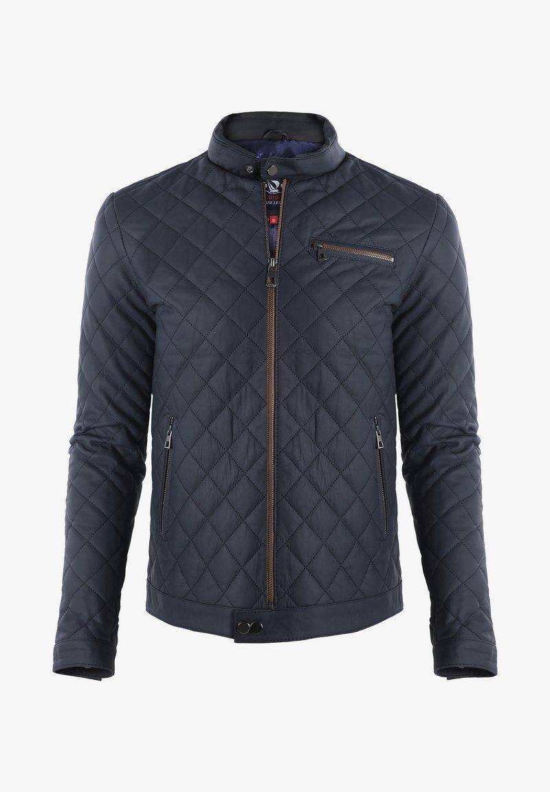 Giorgio Di Mare - Leather jacket - navy tafta