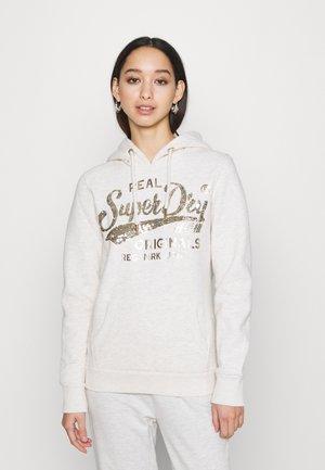 SCRIPT SEQUIN HOOD - Sweatshirt - beige