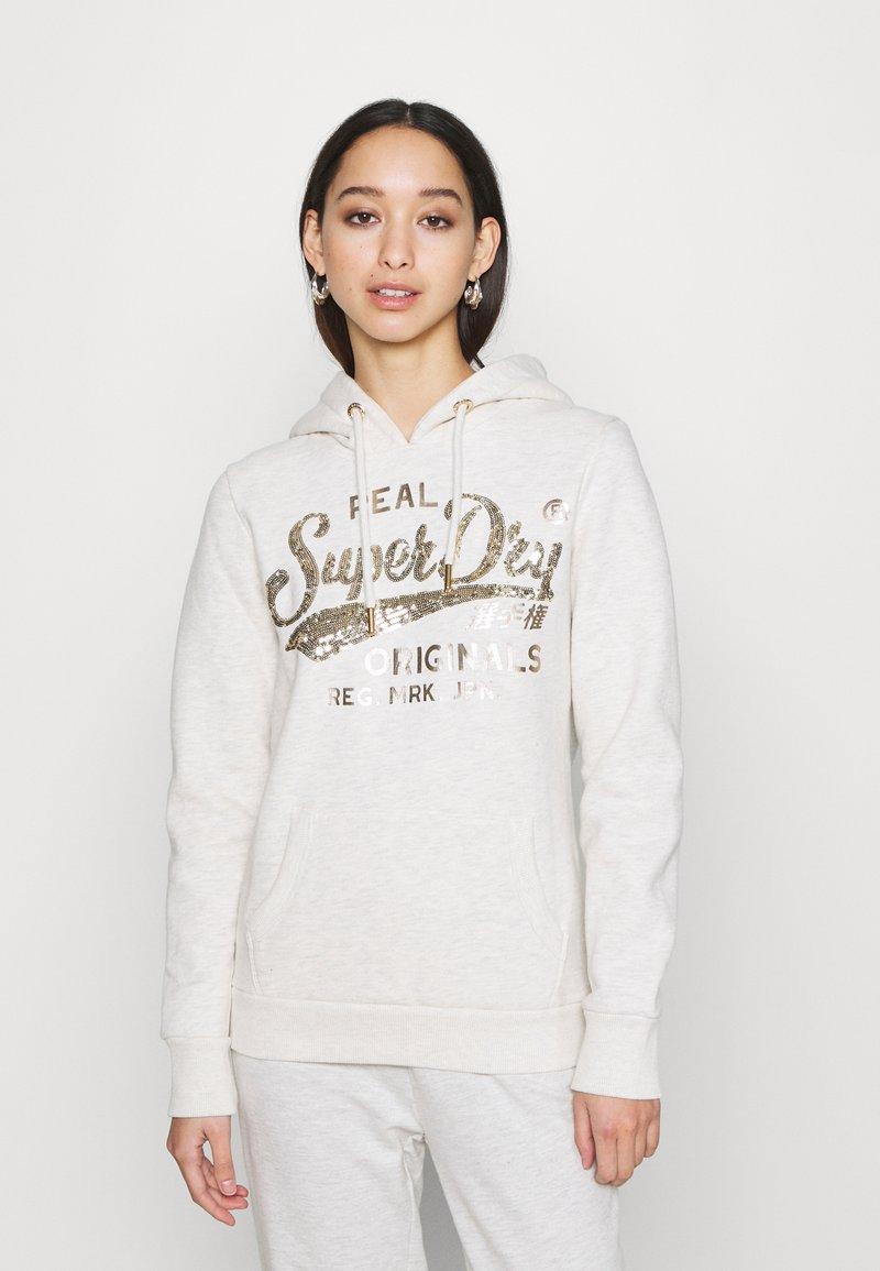 Superdry - SCRIPT SEQUIN HOOD - Sweatshirt - beige
