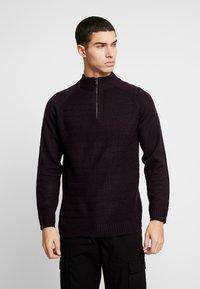 Burton Menswear London - HALF ZIP  - Sweter - burgundy - 0