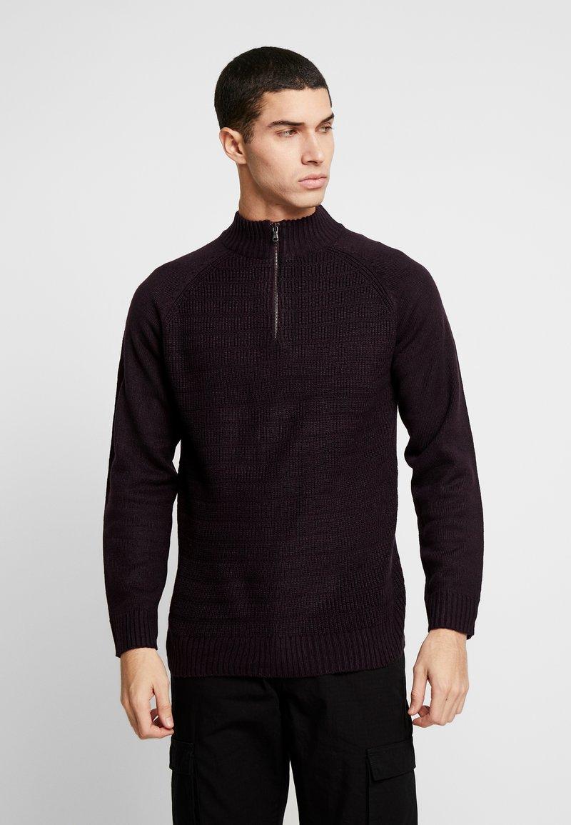 Burton Menswear London - HALF ZIP  - Sweter - burgundy