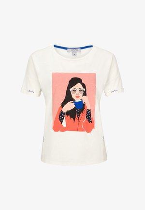 KURZARM - Print T-shirt - beige placed print