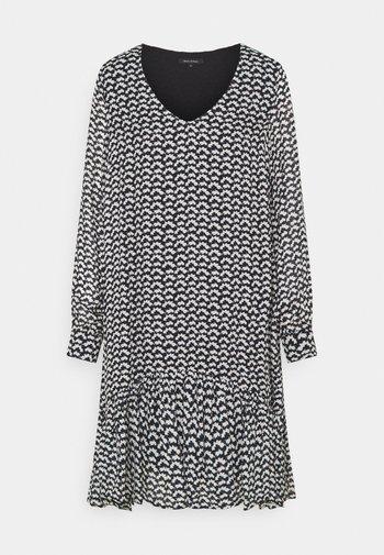 DRESS FLUENT SHORT STYLE V NECK - Day dress - black
