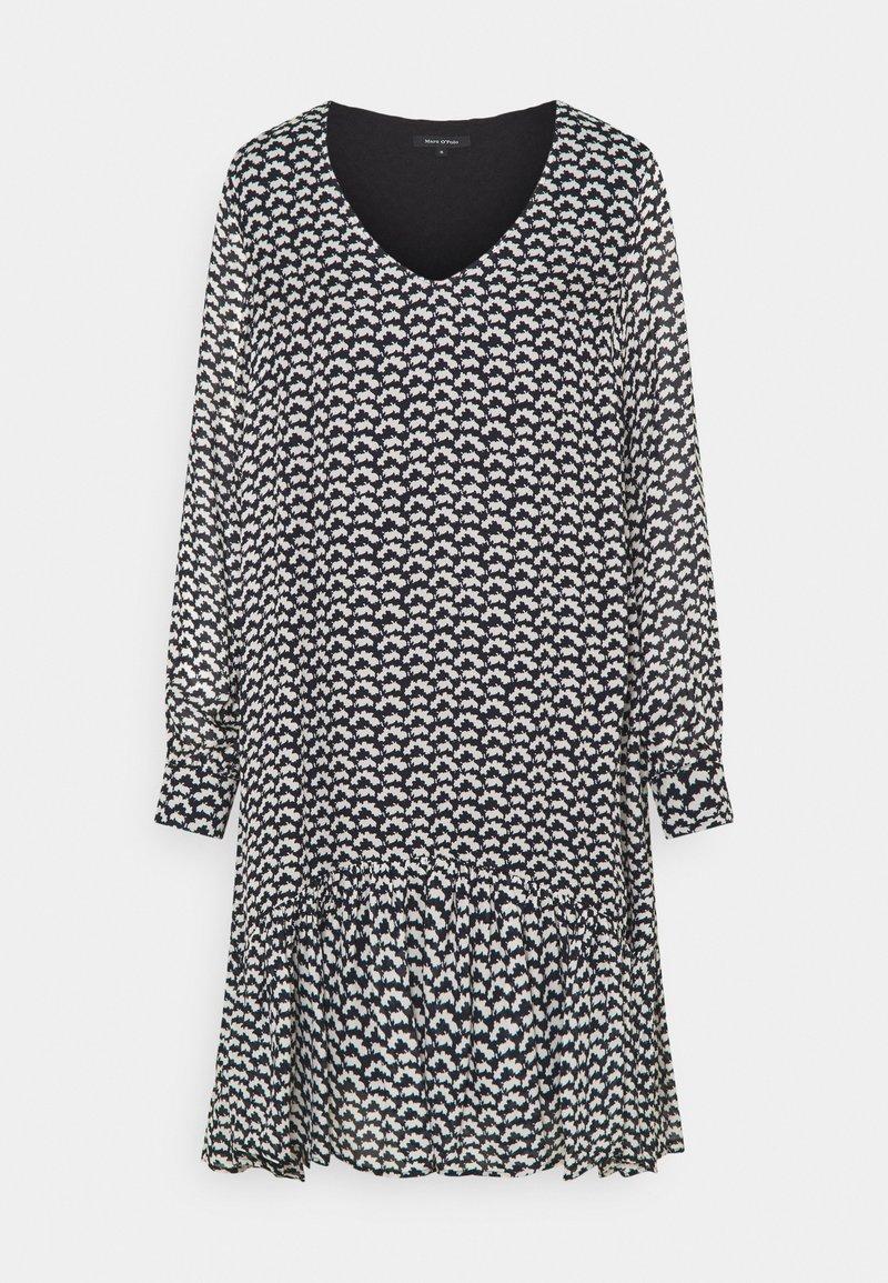 Marc O'Polo - DRESS FLUENT SHORT STYLE V NECK - Denní šaty - black