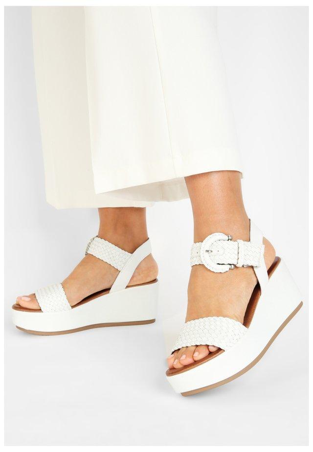 Platform sandals - white wht