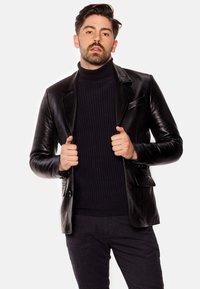 LEATHER HYPE - HYPE BLAZER - Leather jacket - black - 0