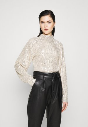 SEQUIN BALLOON SLEEVE - Long sleeved top - silver