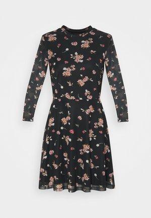 FLARED ALL OVER MESH MINI DRESS - Vapaa-ajan mekko - black/pink