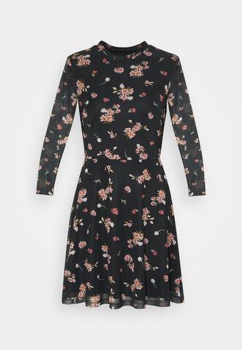FLARED ALL OVER MESH MINI DRESS - Vestito estivo - black/pink