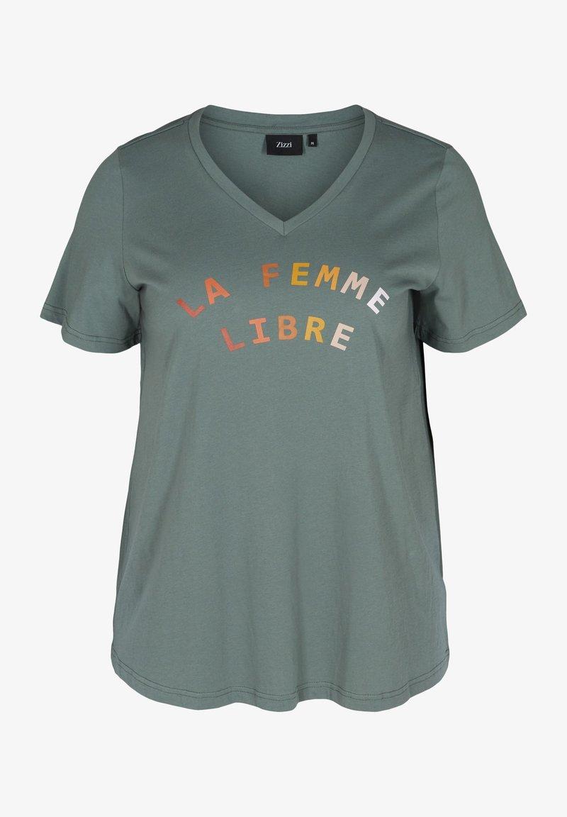 Zizzi - FIERCE STRAIGHT TEE - Print T-shirt - balsam green