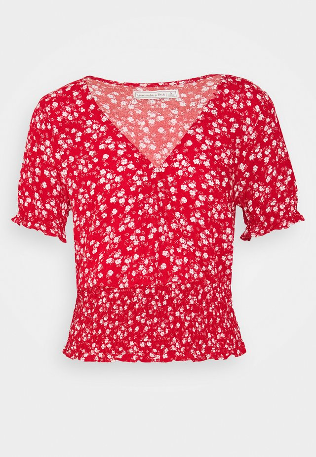 SMOCKED WRAP RUFFL - Blouse - red