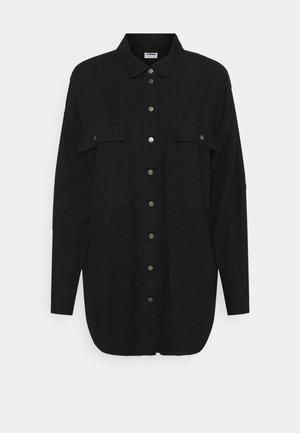 NMFLANNY LONG SHACKET - Button-down blouse - black denim