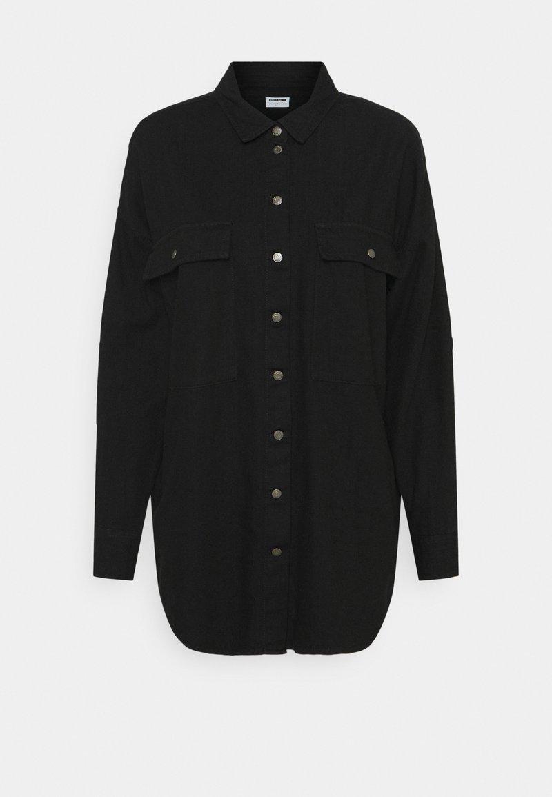 Noisy May - NMFLANNY LONG SHACKET - Button-down blouse - black denim