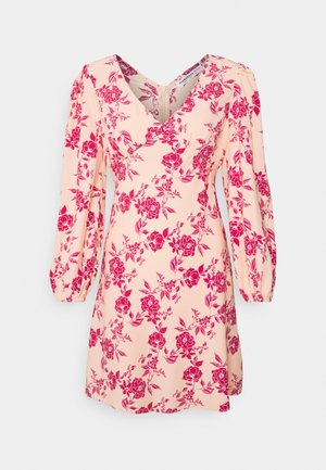 BALLOON SLEEVE PLUNGE MINI - Day dress - peach pink floral