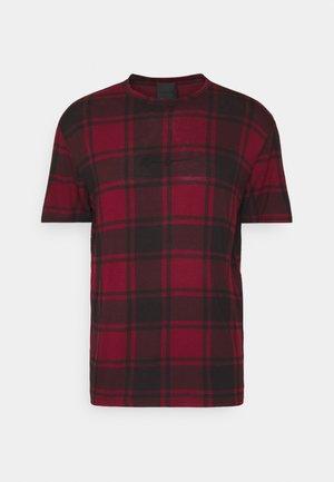 CONTRAST NECK TARTAN  - Print T-shirt - red