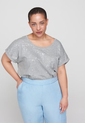 MIT TONE-IN-TONE  - Print T-shirt - light grey melange