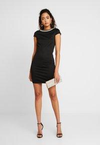 Vila - VISABINE CAPSLEEVE PEARL DRESS - Korte jurk - black - 1