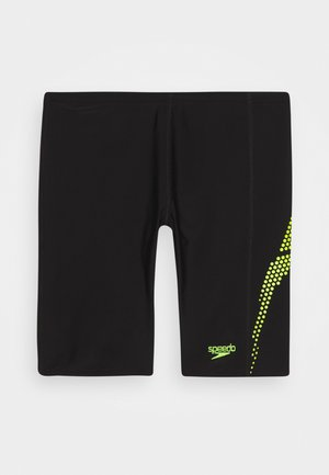 PLASTISOL PLACEMENT JAMMER - Swimming shorts - black/Lava Red/fluorecent yellow