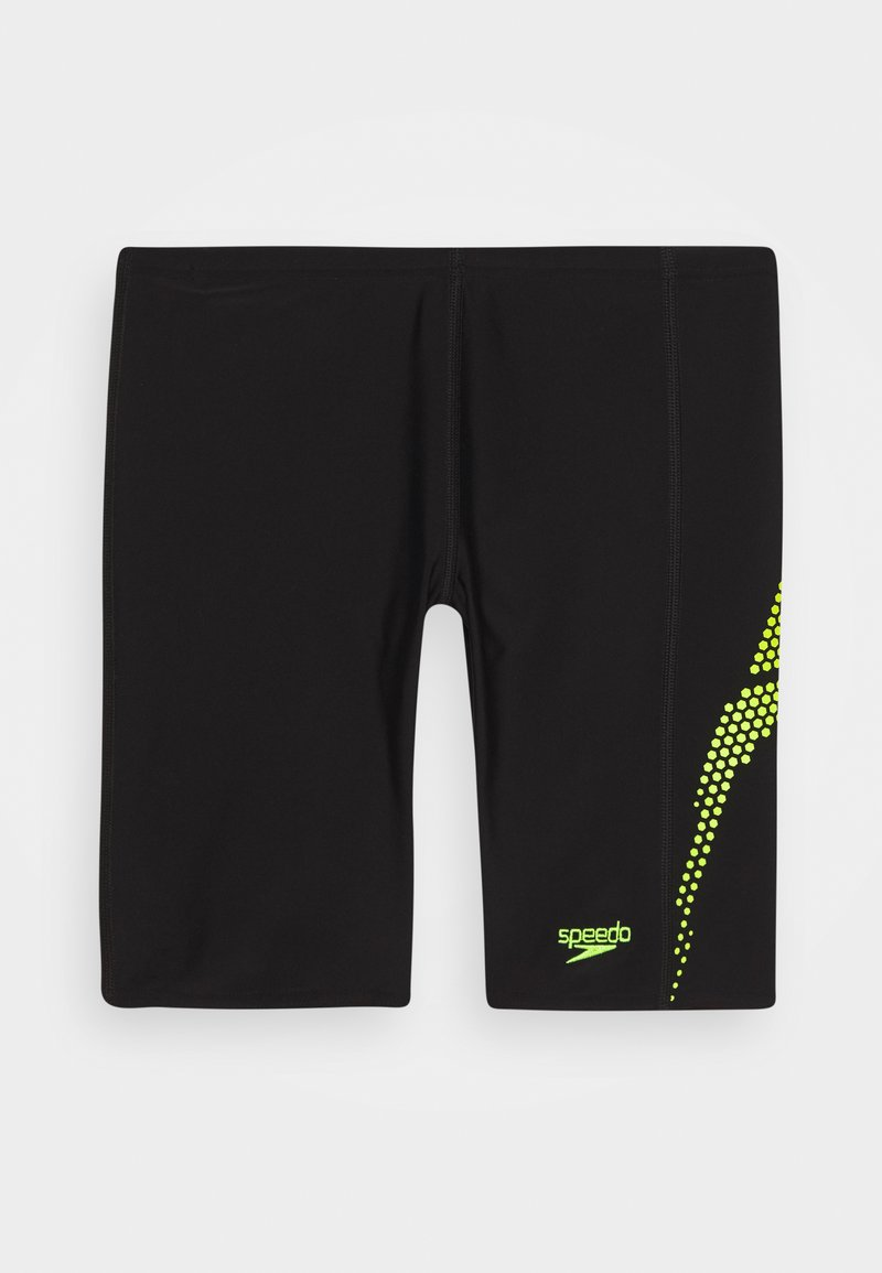 Speedo - PLASTISOL PLACEMENT JAMMER - Swimming shorts - black/Lava Red/fluorecent yellow