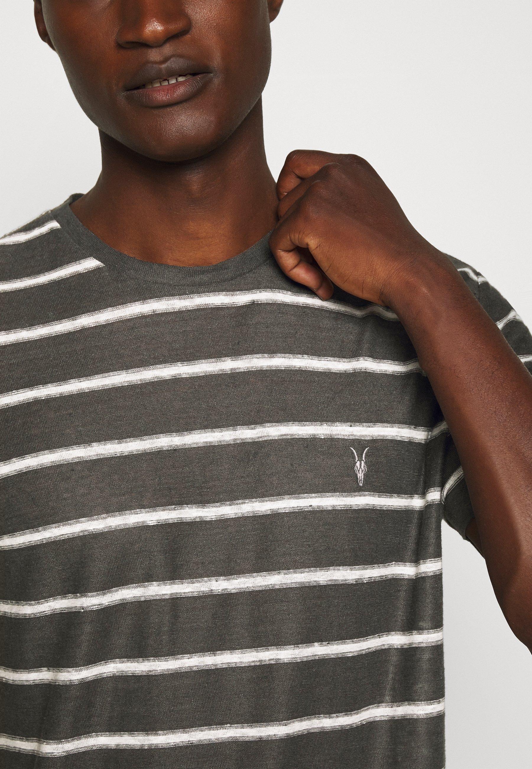 AllSaints VEHICLE CREW - T-shirt imprimé - washed black/chalk white