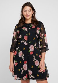 Simply Be - FLORAL SKATER DRESS - Day dress - black - 0