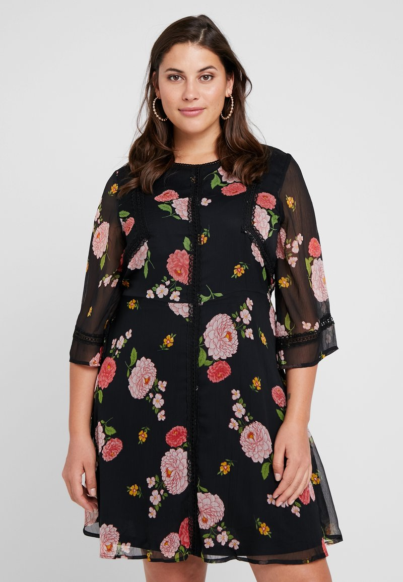 Simply Be - FLORAL SKATER DRESS - Day dress - black