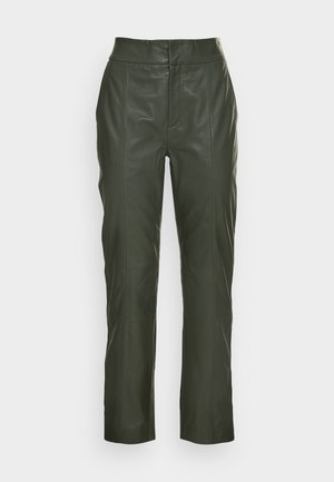 CADIX PANT - Leather trousers - green olive