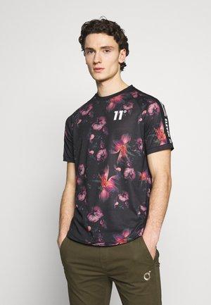 FLORAL TAPED - T-shirt z nadrukiem - black
