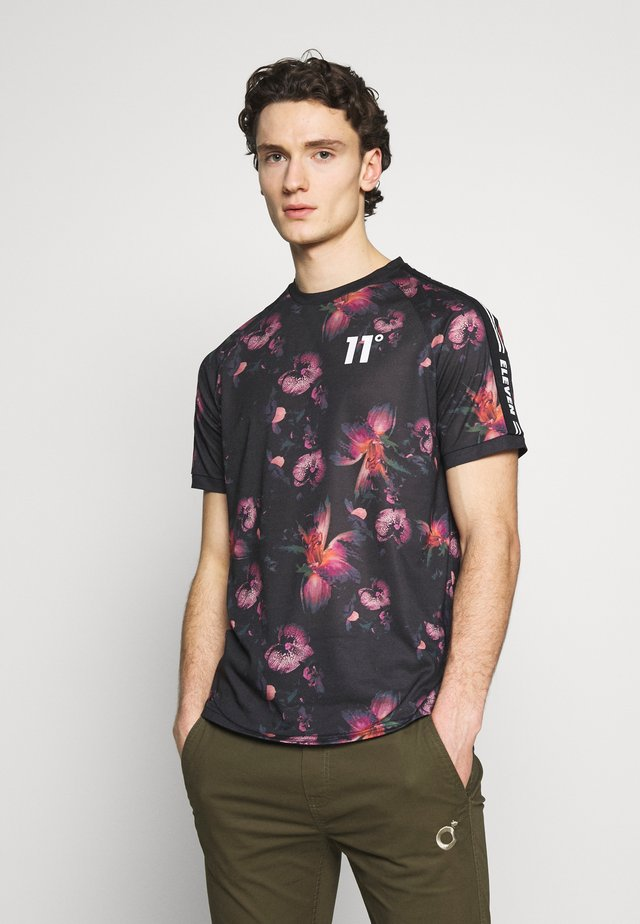 FLORAL TAPED - T-shirt med print - black