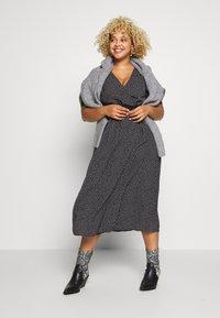Fashion Union Plus - TRIM WRAP DRESS - Day dress - black/white - 1