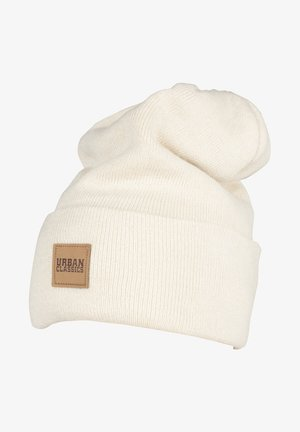 LEATHERPATCH LONG - Beanie - sand