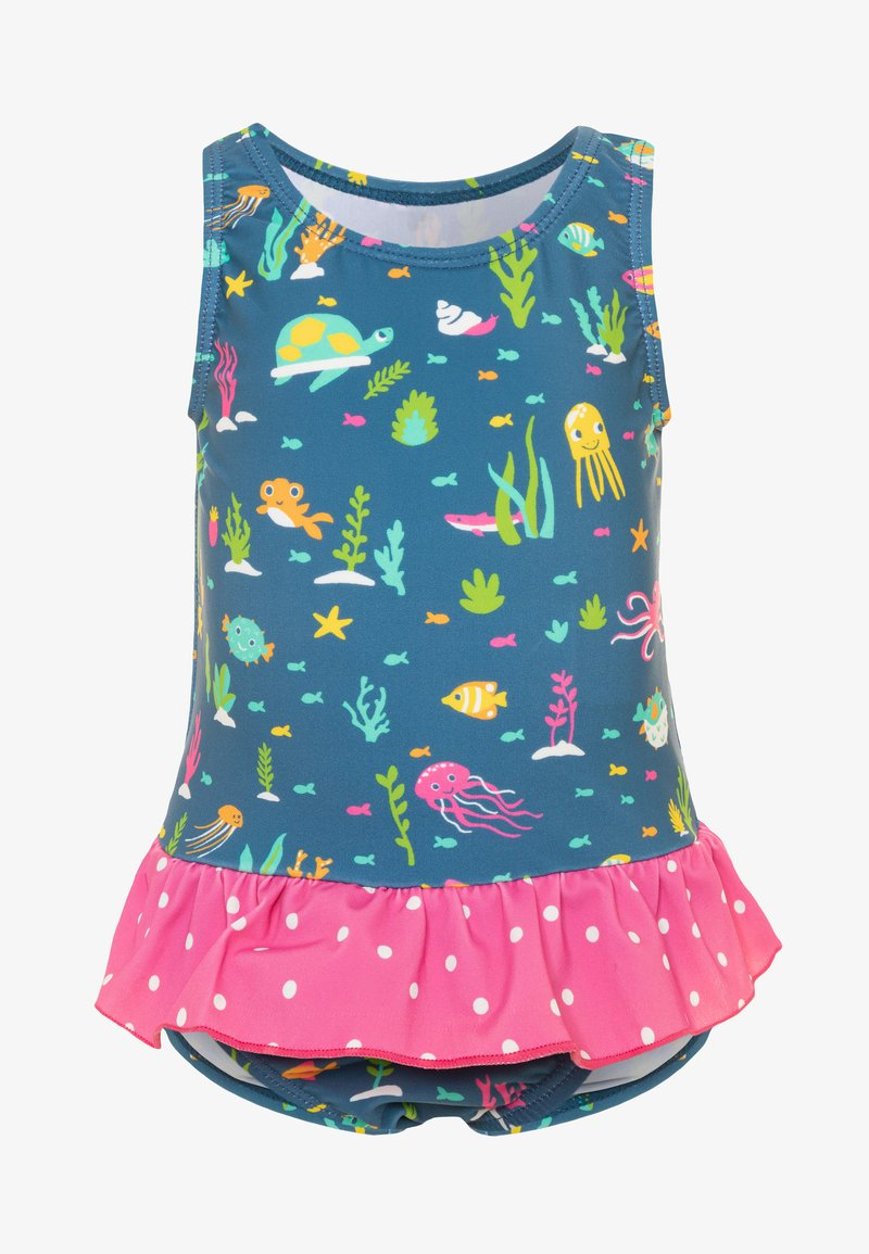 Frugi - OEKO TEX LITTLE CORAL REEF SWIMSUIT BABY - Swimsuit - blue