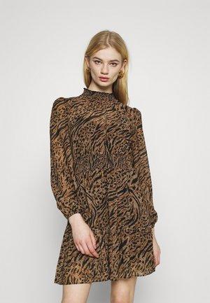ALISON SHIRRED NECK SKATER DRESS - Day dress - brown