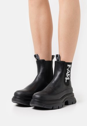 LUNA ART DECO GORE BOOT - Platform ankle boots - black