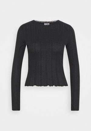 PHOENIX POINTELLE LONG SLEEVE - Long sleeved top - black