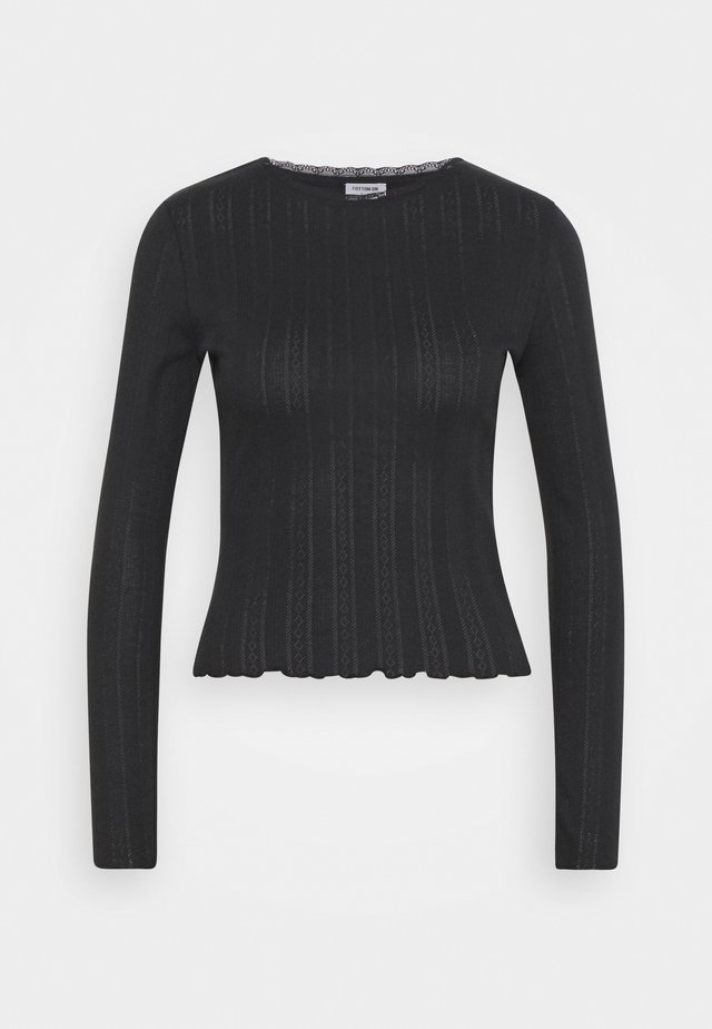 PHOENIX POINTELLE LONG SLEEVE - Top s dlouhým rukávem - black