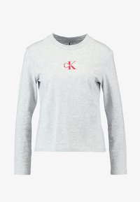 Calvin Klein Jeans - MONOGRAM EMBROIDERY LONG SLEEVE - Top s dlouhým rukávem - light grey heather - 4