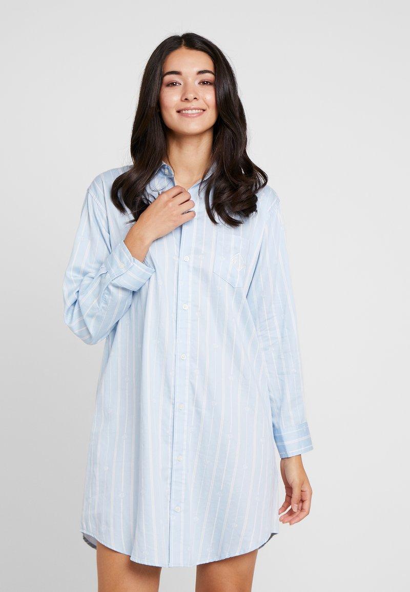 Lauren Ralph Lauren - CLASSIC HIS SHIRT SLEEPSHIRT - Noční košile - blue