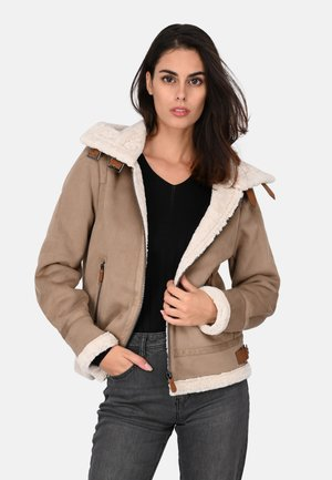 GLORIA - Faux leather jacket - gray taupe