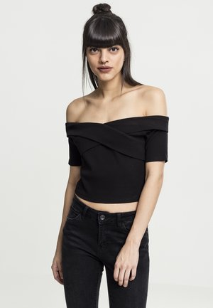 LADIES OFF SHOULDER CROSS - Basic T-shirt - black