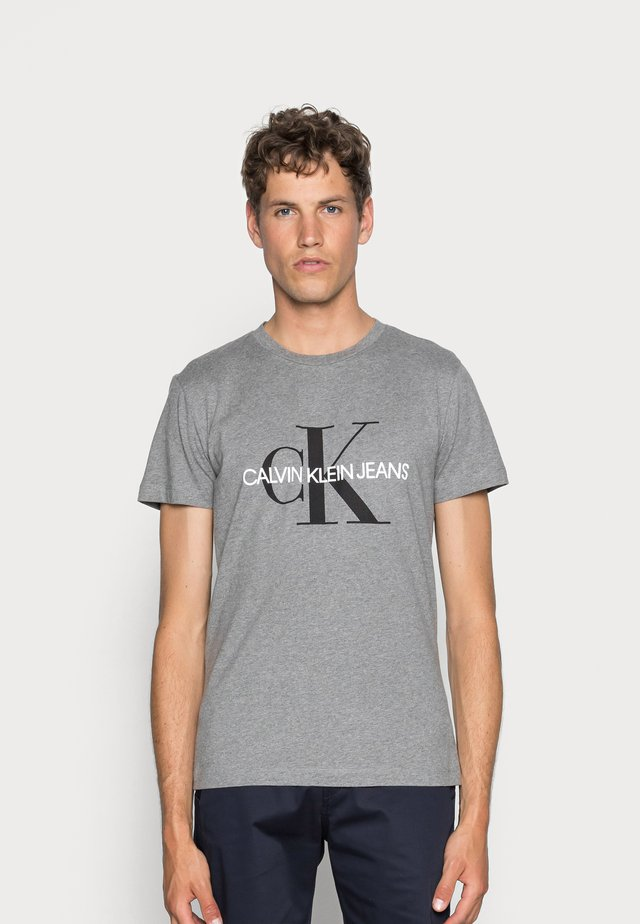 ICONIC MONOGRAM SLIM TEE - Print T-shirt - heather grey