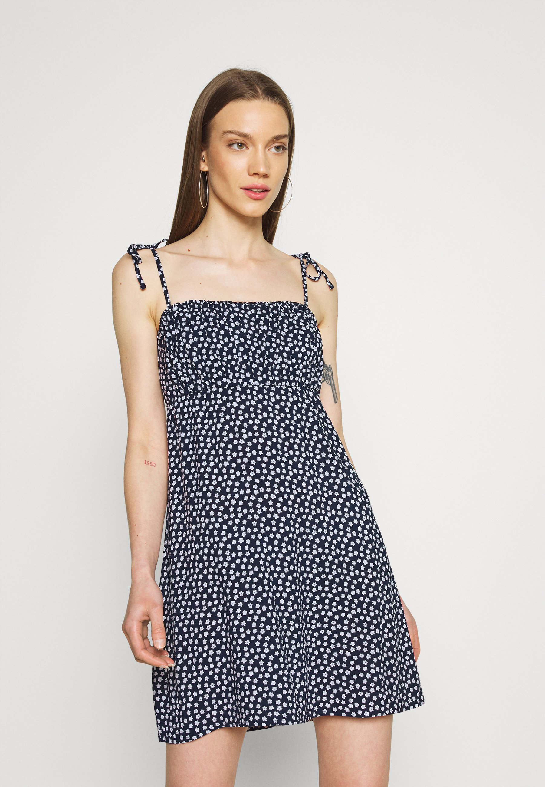 Women RUCHED TIE STRAP DRESS  - Day dress - navy