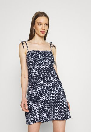 RUCHED TIE STRAP DRESS  - Day dress - navy