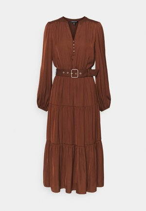 MANDY LONG SLEEVE TIERED MIDI DRESS - Day dress - chocolate
