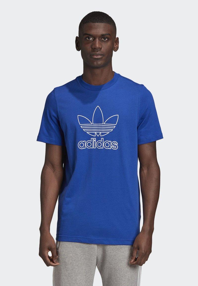 adidas Originals - TREFOIL LOGO OUTLINE T-SHIRT - Print T-shirt - blue
