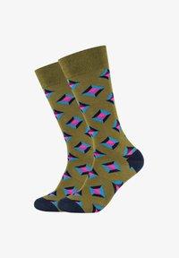 Fun Socks - DIAMOND DOTS - Socks - dark olive mix - 0