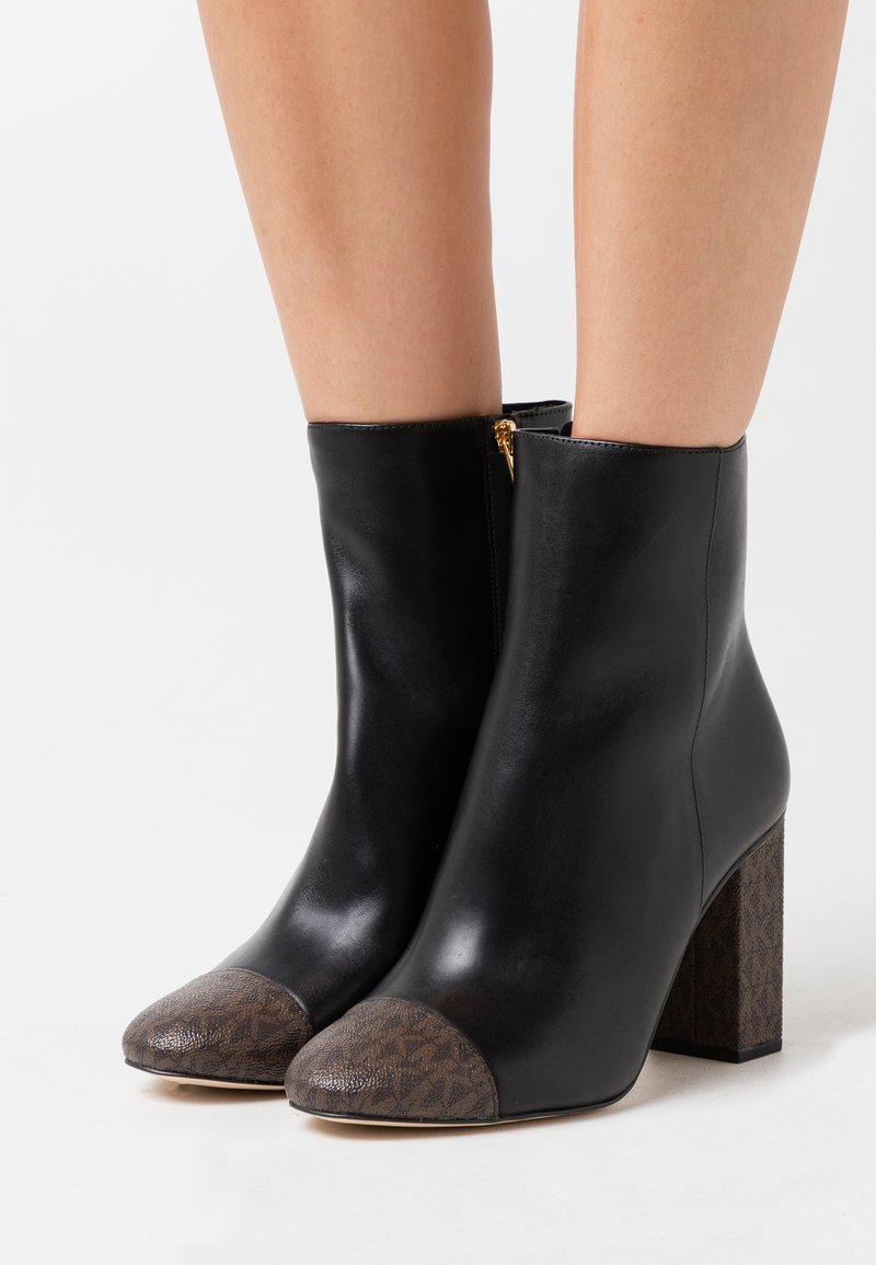 MICHAEL Michael Kors - PETRA TOE CAP BOOTIE - High heeled ankle boots - black/brown