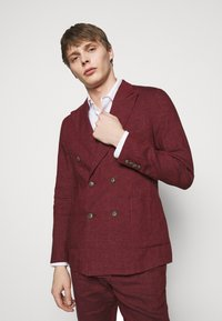 Frescobol Carioca - UNSTRUCTURED DOUBLE BREASTED - Suit jacket - dark red - 5