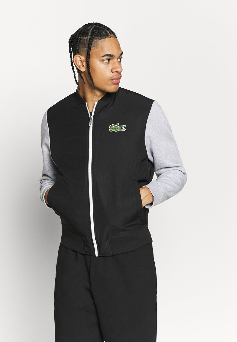 Lacoste Sport - JACKET - Veste de survêtement - black/silver chine/white