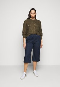 CAPSULE by Simply Be - PREMIUM JERSEY DENIM CULOTTES - Trousers - indigo - 1